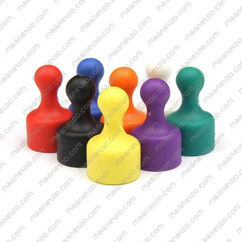 พินแม่เหล็กแรงสูง Magnetic Push Pins 12mm x 20mm ชุด 8ชิ้น 8สี แม่เหล็กถาวรนีโอไดเมี่ยม NdFeB (Neodymium)