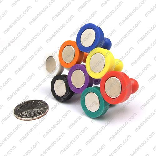 พินแม่เหล็กแรงสูง Magnetic Push Pins 19mm x 25mm ชุด 8ชิ้น 8สี แม่เหล็กถาวรนีโอไดเมี่ยม NdFeB (Neodymium)
