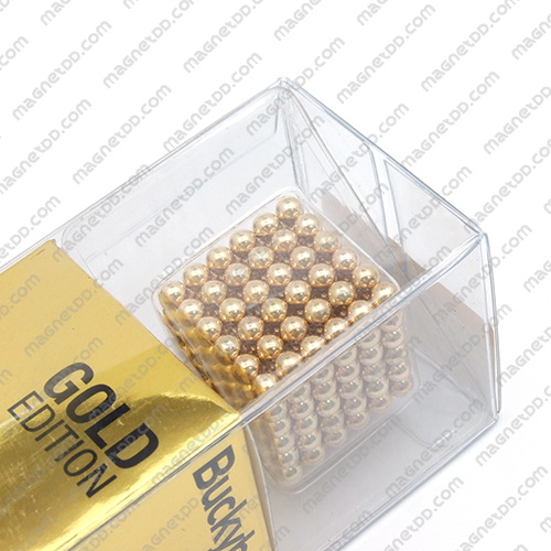 แม่เหล็กแรงสูง Bucky Ball ขนาด 5mm. ชุด 216 ชิ้น - สีทอง แม่เหล็กถาวรนีโอไดเมี่ยม NdFeB (Neodymium)