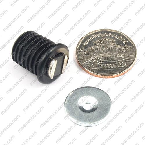 ชุดสลักสัมผัสแม่เหล็ก ทรงกระบอก 16.5mm x 17mm - สีดำ แม่เหล็กถาวรเฟอร์ไรท์ (แม่เหล็กดำ) Ferrite