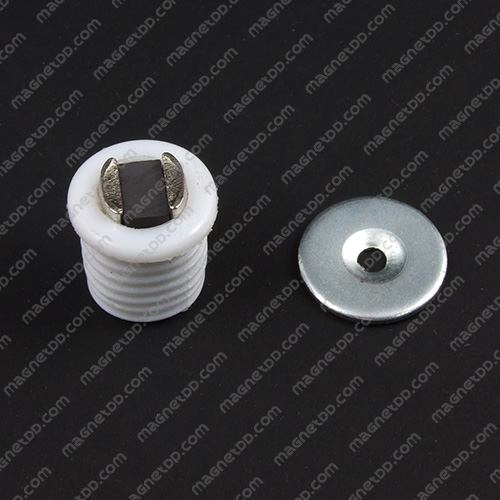 ชุดสลักสัมผัสแม่เหล็ก ทรงกระบอก 16.5mm x 17mm - สีขาว แม่เหล็กถาวรเฟอร์ไรท์ (แม่เหล็กดำ) Ferrite