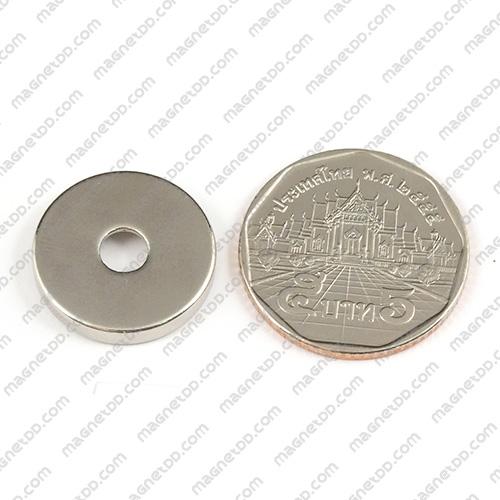 แม่เหล็กแรงสูง Neodymium ขนาด 19mm x 3.15mm วงใน 4.75mm แม่เหล็กถาวรนีโอไดเมี่ยม NdFeB (Neodymium)