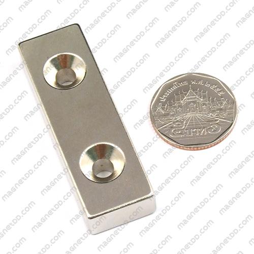 แม่เหล็กแรงสูง Neodymium ขนาด 59mm x 19mm x 10mm รู 5mm แม่เหล็กถาวรนีโอไดเมี่ยม NdFeB (Neodymium)