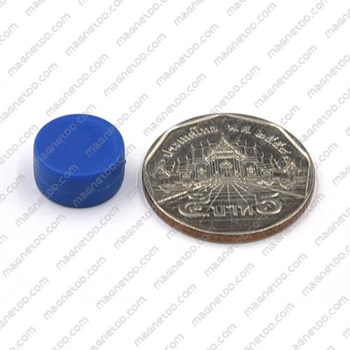 แม่เหล็กแรงสูง หุ้มพลาสติก กันน้ำ ขนาด 12.7mm x 6.2mm - สีน้ำเงิน แม่เหล็กถาวรนีโอไดเมี่ยม NdFeB (Neodymium)