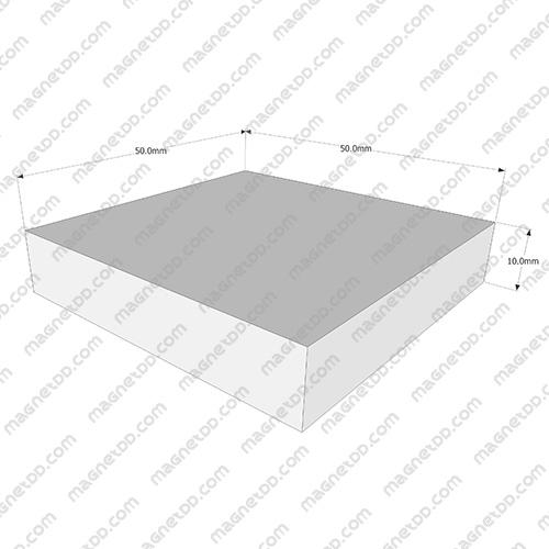 แม่เหล็กแรงสูง Neodymium ขนาด 50mm x 50mm x 10mm แม่เหล็กถาวรนีโอไดเมี่ยม NdFeB (Neodymium)