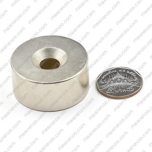 แม่เหล็กแรงสูง Neodymium 39mm x 19mm วงใน 10mm แม่เหล็กถาวรนีโอไดเมี่ยม NdFeB (Neodymium)