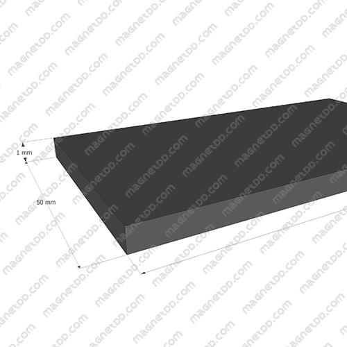 แม่เหล็กยาง ขนาด 50mm x 1mm ยาว 10เมตร - ยกม้วน แม่เหล็กถาวรยาง Flexible Rubber Magnets