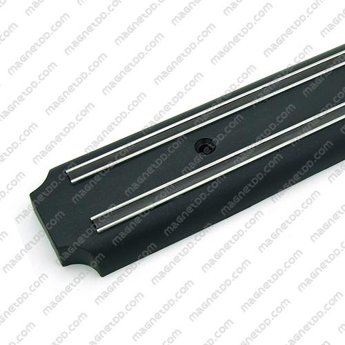 แถบแม่เหล็กเก็บมีดติดผนัง ขนาด 380mm – พลาสติกมุมเว้า ABS สีดำ แม่เหล็กถาวรยาง Flexible Rubber Magnets