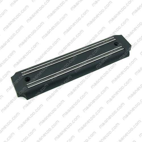 แถบแม่เหล็กเก็บมีดติดผนัง ขนาด 200mm – พลาสติกมุมเว้า ABS สีดำ แม่เหล็กถาวรยาง Flexible Rubber Magnets