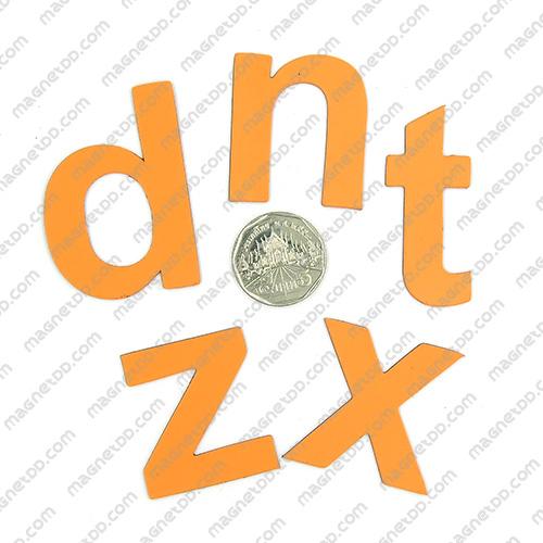 แม่เหล็กยาง ตัวอักษร อังกฤษพิมพ์เล็ก a-z ขนาด 38mm ชุด 26 ชิ้น - สีส้ม แม่เหล็กถาวรยาง Flexible Rubber Magnets