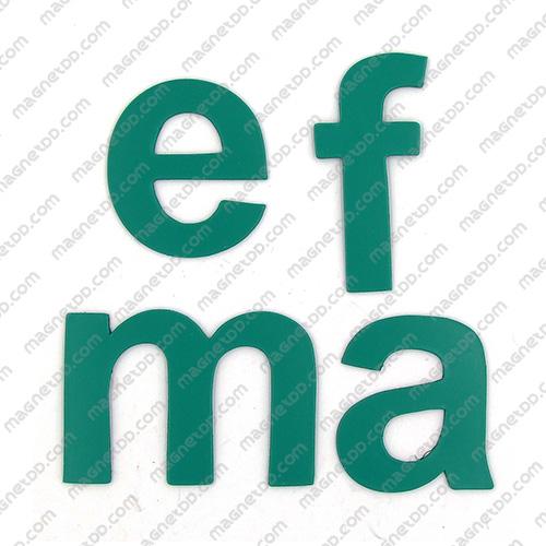 แม่เหล็กยาง ตัวอักษร อังกฤษพิมพ์เล็ก a-z ขนาด 38mm ชุด 26 ชิ้น - สีเขียว แม่เหล็กถาวรยาง Flexible Rubber Magnets