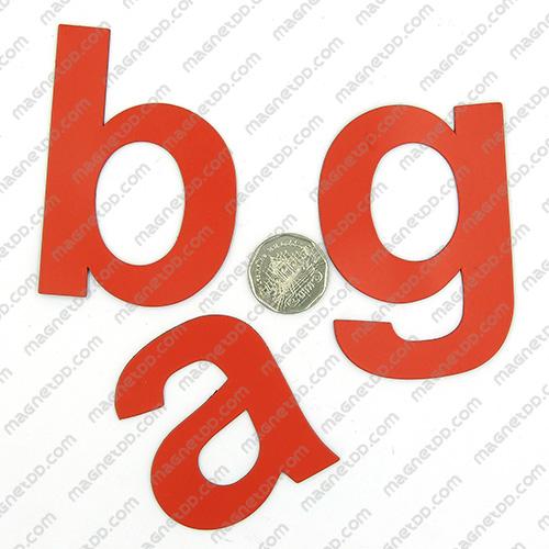 แม่เหล็กยาง ตัวอักษร อังกฤษพิมพ์เล็ก a-z ขนาด 58mm ชุด 26 ชิ้น - สีแดง แม่เหล็กถาวรยาง Flexible Rubber Magnets