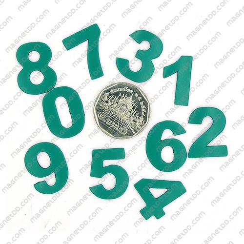 แม่เหล็กยาง ตัวเลข 0-9 สูง 22mm ชุด 10ชิ้น – สีเขียว แม่เหล็กถาวรยาง Flexible Rubber Magnets
