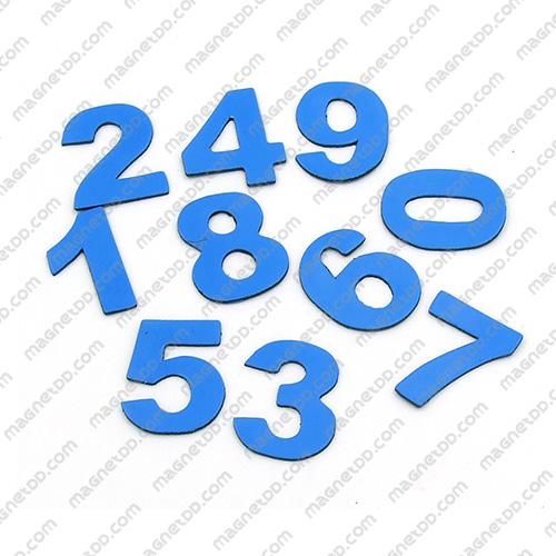 แม่เหล็กยาง ตัวเลข 0-9 สูง 22mm ชุด 10ชิ้น – สีน้ำเงิน แม่เหล็กถาวรยาง Flexible Rubber Magnets