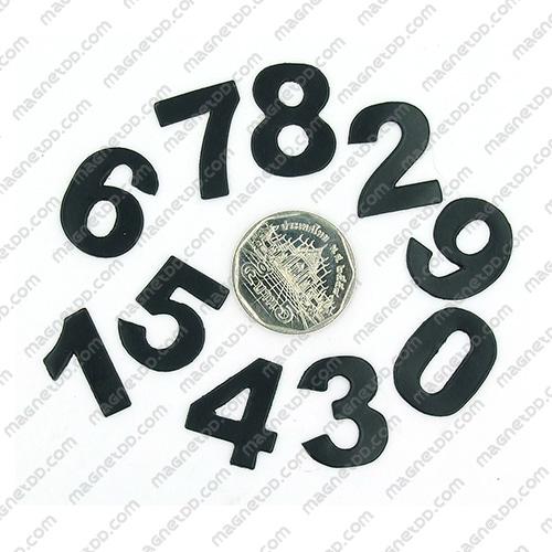 แม่เหล็กยาง ตัวเลข 0-9 สูง 22mm ชุด 10ชิ้น – สีดำ แม่เหล็กถาวรยาง Flexible Rubber Magnets