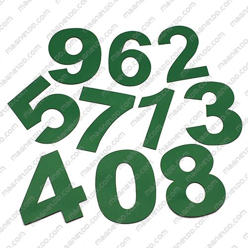 แม่เหล็กยาง ตัวเลข 0-9 สูง 80mm ชุด 10 ชิ้น - สีเขียว แม่เหล็กถาวรยาง Flexible Rubber Magnets
