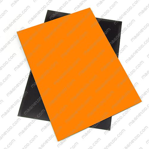 แม่เหล็กยาง A4 ขนาด 297mm x 210mm x 0.5mm - สีส้ม แม่เหล็กถาวรยาง Flexible Rubber Magnets
