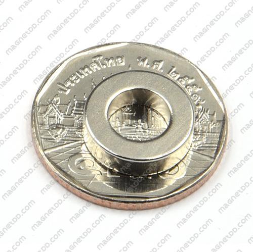 แม่เหล็กแรงสูง Neodymium ขนาด 13.5mm x 3.5mm วงใน 7.5mm แม่เหล็กถาวรนีโอไดเมี่ยม NdFeB (Neodymium)