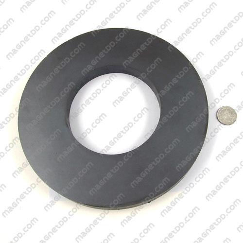 แม่เหล็กเฟอร์ไรท์ โดนัทกลมแบน 220mm x 20mm วงใน 110mm แม่เหล็กถาวรเฟอร์ไรท์ (แม่เหล็กดำ) Ferrite