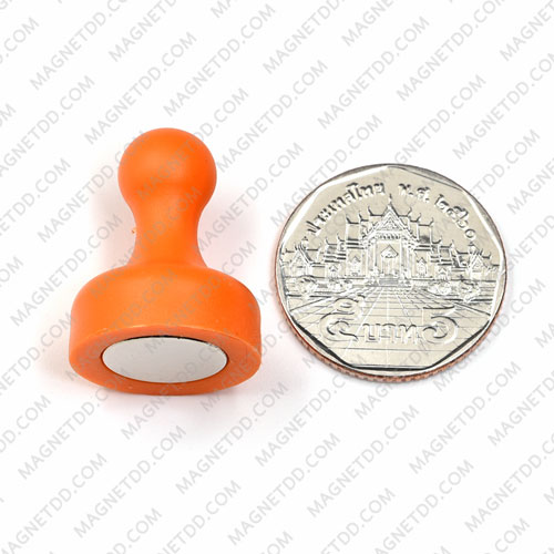พินแม่เหล็กแรงสูง Magnetic Push Pins 19mm x 25mm สีส้ม แม่เหล็กถาวรนีโอไดเมี่ยม NdFeB (Neodymium)