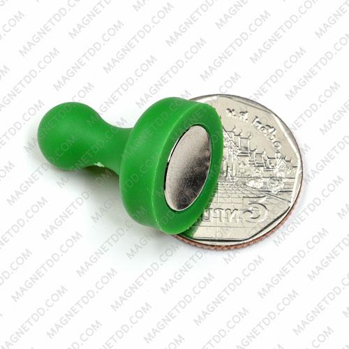 พินแม่เหล็กแรงสูง Magnetic Push Pins 19mm x 25mm สีเขียว แม่เหล็กถาวรนีโอไดเมี่ยม NdFeB (Neodymium)