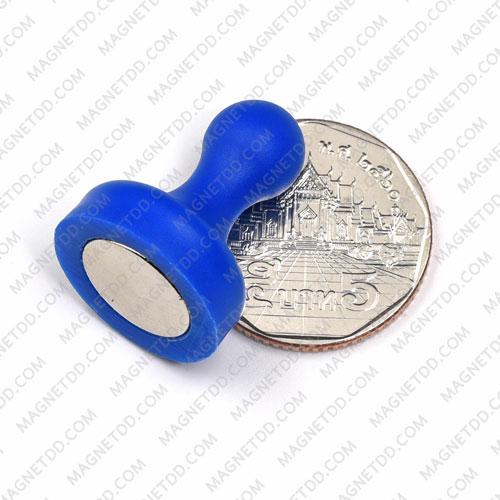 พินแม่เหล็กแรงสูง Magnetic Push Pins 19mm x 25mm สีน้ำเงิน แม่เหล็กถาวรนีโอไดเมี่ยม NdFeB (Neodymium)