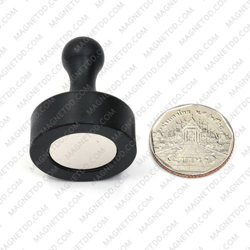 พินแม่เหล็กแรงสูง Magnetic Push Pins 29mm x 38mm สีดำ แม่เหล็กถาวรนีโอไดเมี่ยม NdFeB (Neodymium)