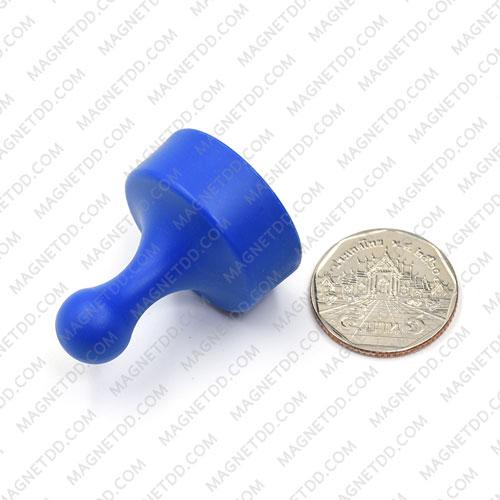พินแม่เหล็กแรงสูง Magnetic Push Pins 29mm x 38mm สีน้ำเงิน แม่เหล็กถาวรนีโอไดเมี่ยม NdFeB (Neodymium)
