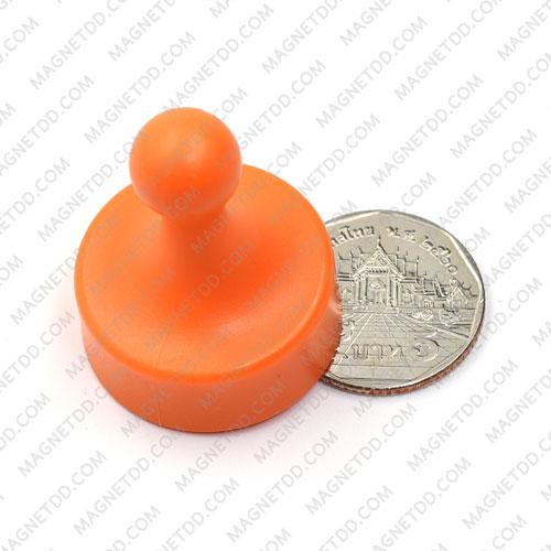 พินแม่เหล็กแรงสูง Magnetic Push Pins 29mm x 38mm สีส้ม แม่เหล็กถาวรนีโอไดเมี่ยม NdFeB (Neodymium)