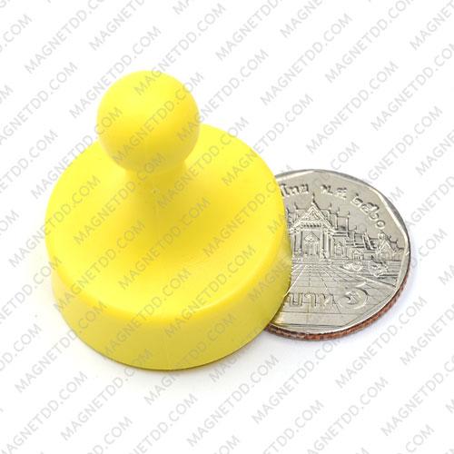 พินแม่เหล็กแรงสูง Magnetic Push Pins 29mm x 38mm สีเหลือง แม่เหล็กถาวรนีโอไดเมี่ยม NdFeB (Neodymium)