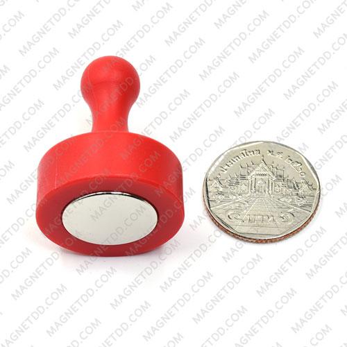 พินแม่เหล็กแรงสูง Magnetic Push Pins 29mm x 38mm สีแดง แม่เหล็กถาวรนีโอไดเมี่ยม NdFeB (Neodymium)