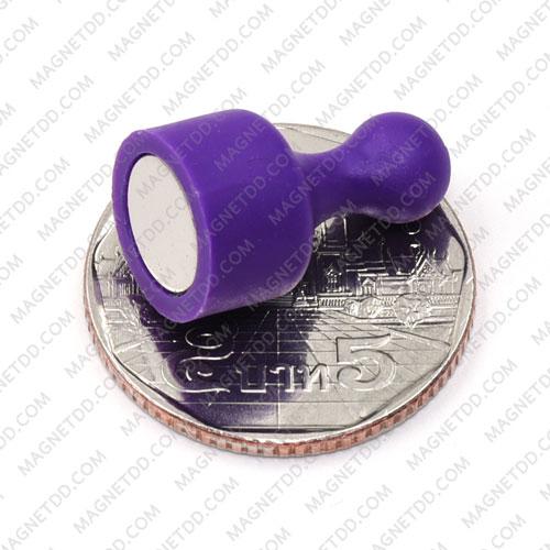 พินแม่เหล็กแรงสูง Magnetic Push Pins 12mm x 20mm สีม่วง แม่เหล็กถาวรนีโอไดเมี่ยม NdFeB (Neodymium)