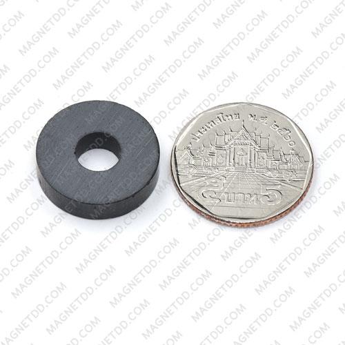 แม่เหล็กเฟอร์ไรท์ Ferrite ขนาด 21mm x 5mm วงใน 7mm แม่เหล็กถาวรเฟอร์ไรท์ (แม่เหล็กดำ) Ferrite