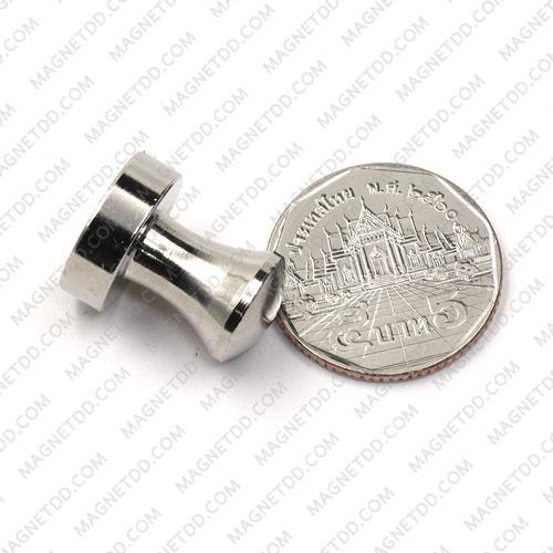 พินแม่เหล็กแรงสูง Magnetic Push Pins 16mm x 20mm สีเงิน แม่เหล็กถาวรนีโอไดเมี่ยม NdFeB (Neodymium)