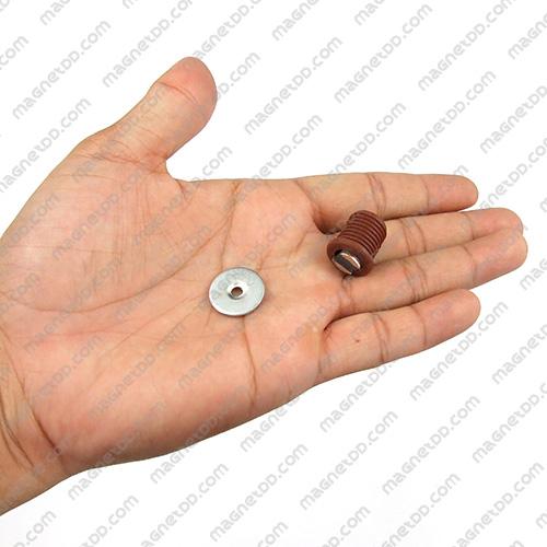 ชุดสลักสัมผัสแม่เหล็ก ทรงกระบอก 16.5mm x 17mm - สีน้ำตาล แม่เหล็กถาวรเฟอร์ไรท์ (แม่เหล็กดำ) Ferrite