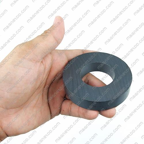 แม่เหล็กเฟอร์ไรท์โดนัท 80mm x 15mm วงใน 40mm แม่เหล็กถาวรเฟอร์ไรท์ (แม่เหล็กดำ) Ferrite