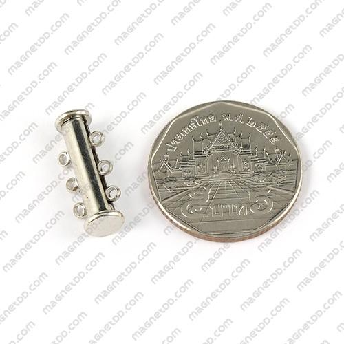 ข้อต่อแม่เหล็กแรงสูง ทรงกระบอก สไลด์ 3ห่วง 6mm x 20mm แม่เหล็กถาวรนีโอไดเมี่ยม NdFeB (Neodymium)
