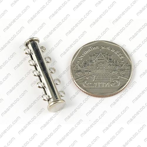 ข้อต่อแม่เหล็กแรงสูง ทรงกระบอก สไลด์ 5ห่วง 6mm x 30mm แม่เหล็กถาวรนีโอไดเมี่ยม NdFeB (Neodymium)