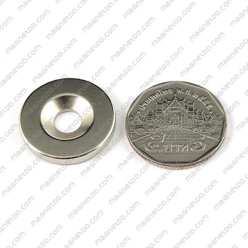 แม่เหล็กแรงสูง Neodymium ขนาด 23mm x 3mm วงใน 6mm แม่เหล็กถาวรนีโอไดเมี่ยม NdFeB (Neodymium)