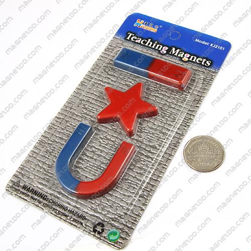ชุดแม่เหล็กเพื่อการศึกษา 3ชิ้น Teaching Magnet - ดาว แม่เหล็กถาวรเฟอร์ไรท์ (แม่เหล็กดำ) Ferrite