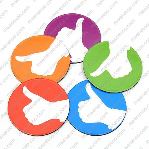 แม่เหล็กยาง วงกลมถูกใจ Thumbs Up - 36mm 5ชิ้น แม่เหล็กถาวรยาง Flexible Rubber Magnets