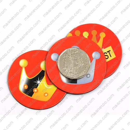 แม่เหล็กยาง รูปมงกุฎกลม 45mm 3ชิ้น - สีแดง แม่เหล็กถาวรยาง Flexible Rubber Magnets