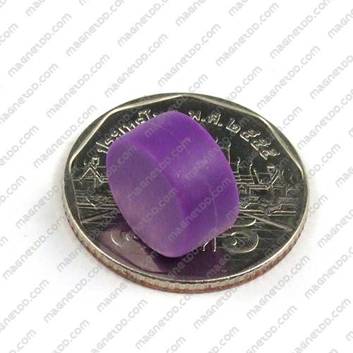 แม่เหล็กแรงสูง หุ้มพลาสติก กันน้ำ ขนาด 12.7mm x 6.2mm - ม่วง แม่เหล็กถาวรนีโอไดเมี่ยม NdFeB (Neodymium)