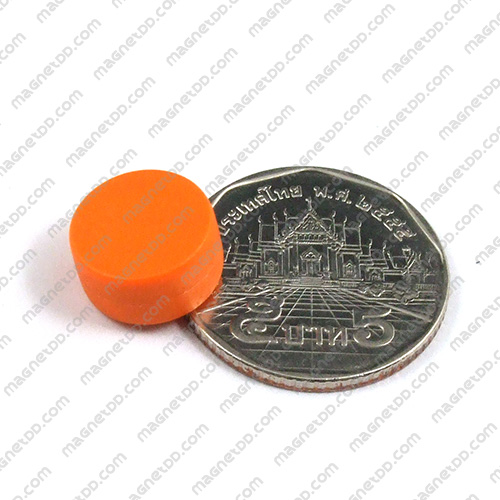 แม่เหล็กแรงสูง หุ้มพลาสติก กันน้ำ ขนาด 12.7mm x 6.2mm - ส้ม แม่เหล็กถาวรนีโอไดเมี่ยม NdFeB (Neodymium)