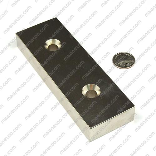 แม่เหล็กแรงสูง Neodymium ขนาด 150mm x 50mm x 20mm รู 10mm แม่เหล็กถาวรนีโอไดเมี่ยม NdFeB (Neodymium)