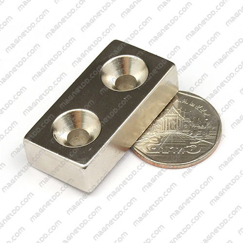 แม่เหล็กแรงสูง Neodymium 2รู ขนาด 39mm x 19mm x 10mm รู 5mm แม่เหล็กถาวรนีโอไดเมี่ยม NdFeB (Neodymium)