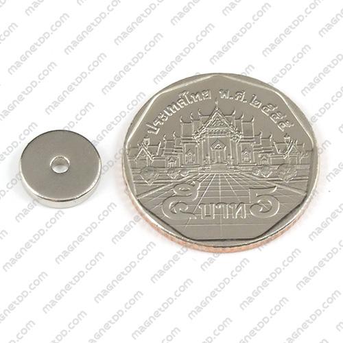 แม่เหล็กแรงสูง Neodymium ขนาด 10mm x 2mm วงใน 2mm แม่เหล็กถาวรนีโอไดเมี่ยม NdFeB (Neodymium)