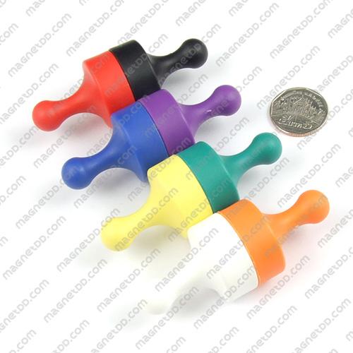 พินแม่เหล็กแรงสูง Magnetic Push Pins 29mm x 38mm ชุด 8ชิ้น 8สี แม่เหล็กถาวรนีโอไดเมี่ยม NdFeB (Neodymium)