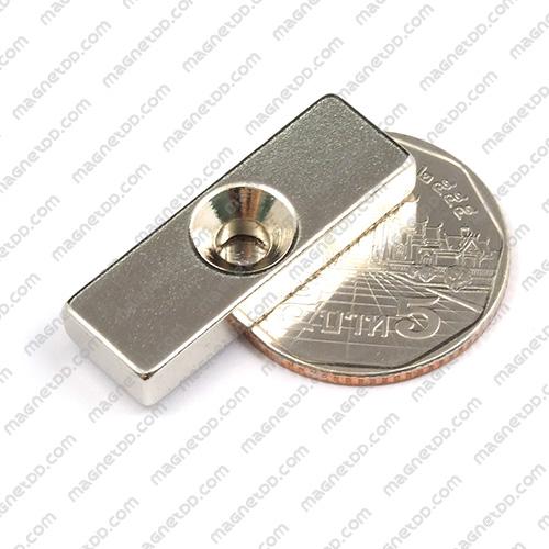 แม่เหล็กแรงสูง สี่เหลี่ยม 1 รู ขนาด 30mm x 10mm x 4.75mm รู 4mm แม่เหล็กถาวรนีโอไดเมี่ยม NdFeB (Neodymium)