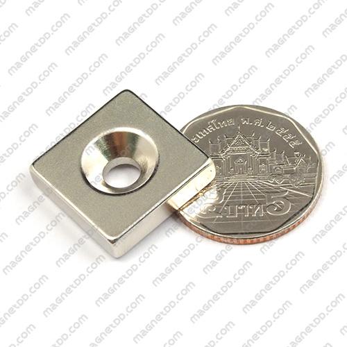 แม่เหล็กแรงสูง Neodymium ขนาด 19mm x 19mm x 5mm รู 5mm แม่เหล็กถาวรนีโอไดเมี่ยม NdFeB (Neodymium)